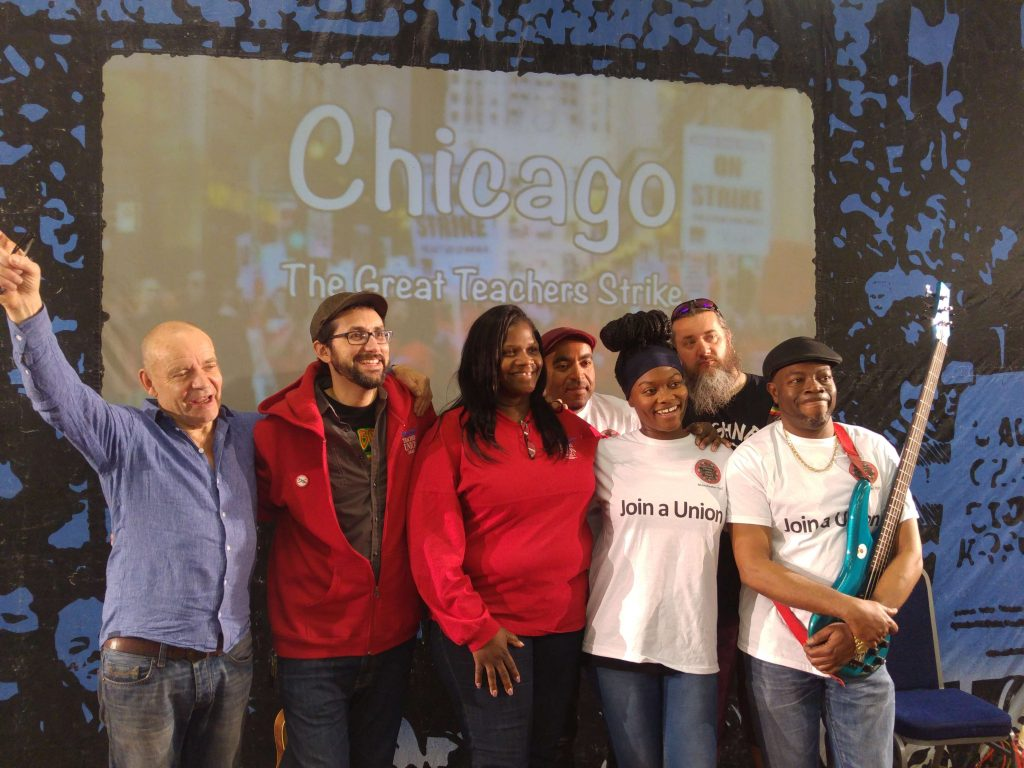 "Banner Theatre with Chicago teachers after a performance of ""Chicago: The Great Teachers' Strike"" at Manchester May Day 2016"