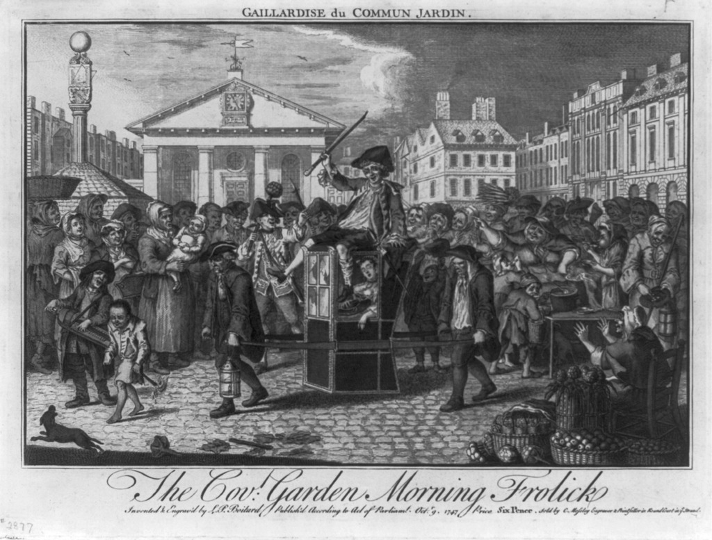 Covent Garden, a so-called 'Molly District', in 1747. By Louis Peter Boitard.