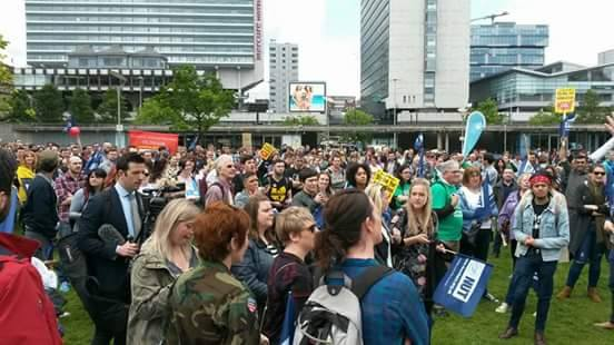 Manchester rally in Piccadilly Gardens