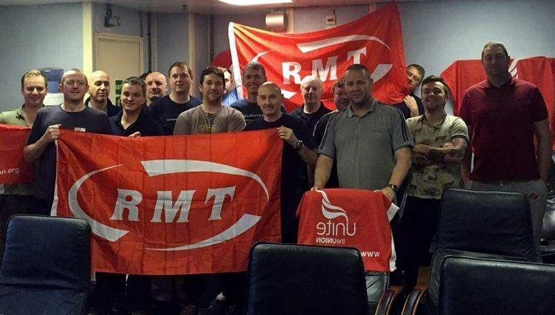 Striking oil rig workers (Photo: RMT/twitter)