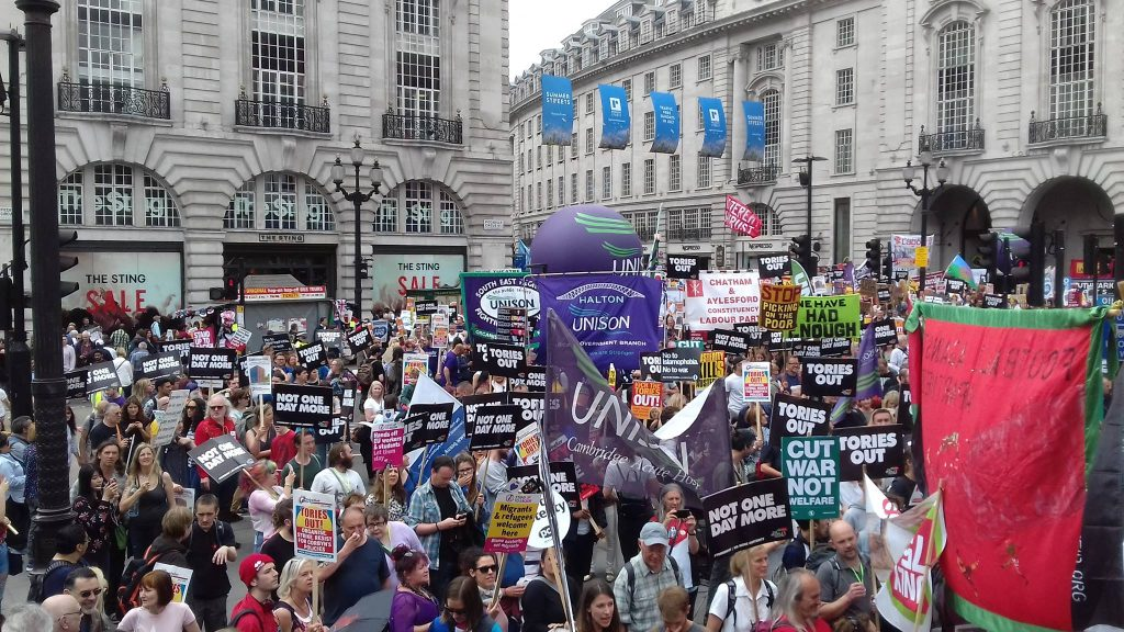 Large crowd on demo