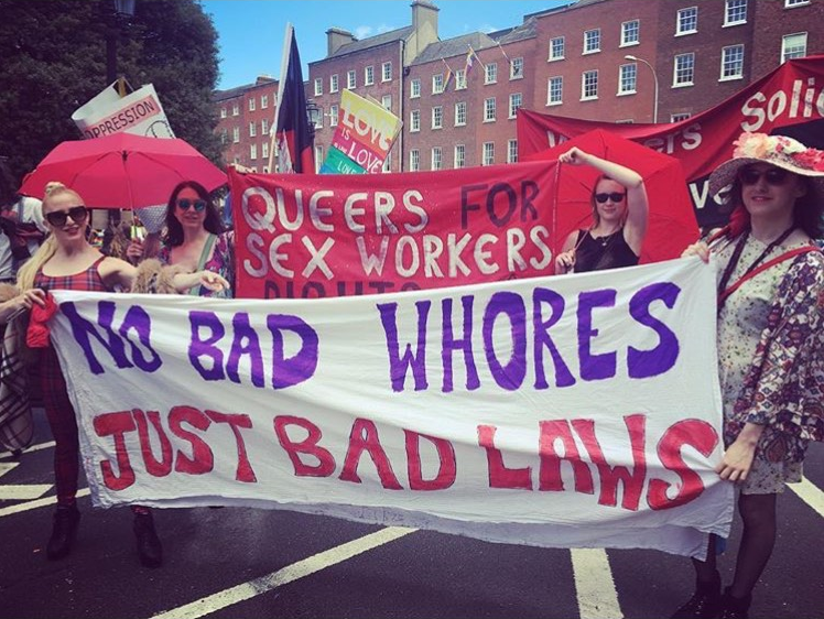 Sex workers' banner - No bad whores, just bad laws
