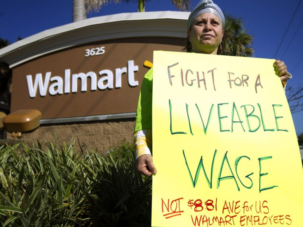 Workers strike at Walmart stores nationwide in November 2014