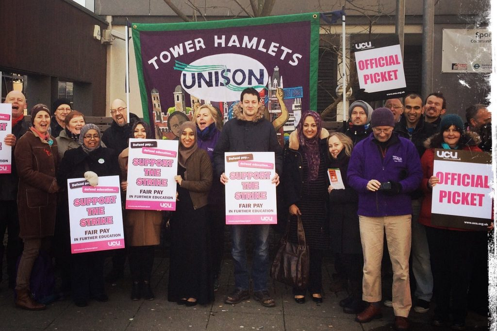 Unison and UCU picket line at Tower Hamlets College (Photo: Mark Winter)