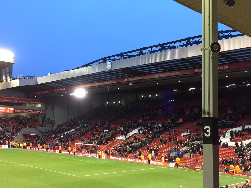 Empty stands at the Kop (photo via twitter)