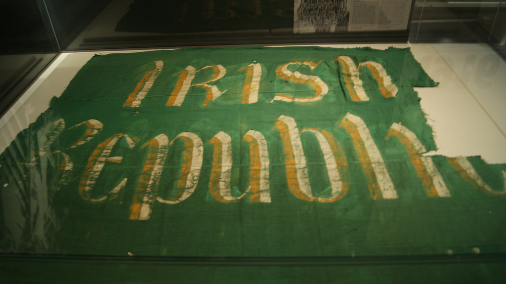 "The ""Irish Republic"" flag flown on the Dublin General Post Office during the Easter Rising. Now held in the National Museum of Ireland."
