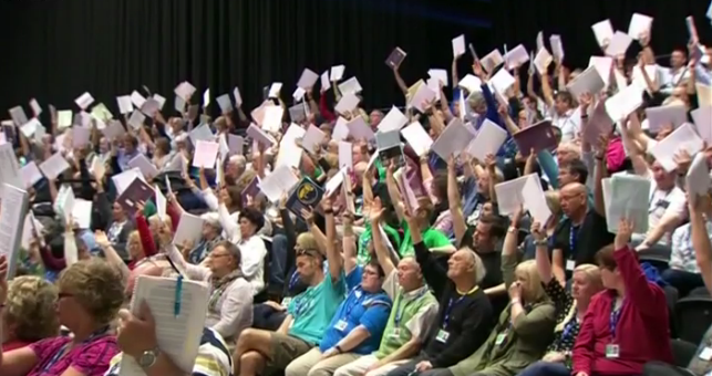 teachers vote overwhelmingly in favour of strike action at the recent NUT conference. Credit: BBC (screengrab from video)