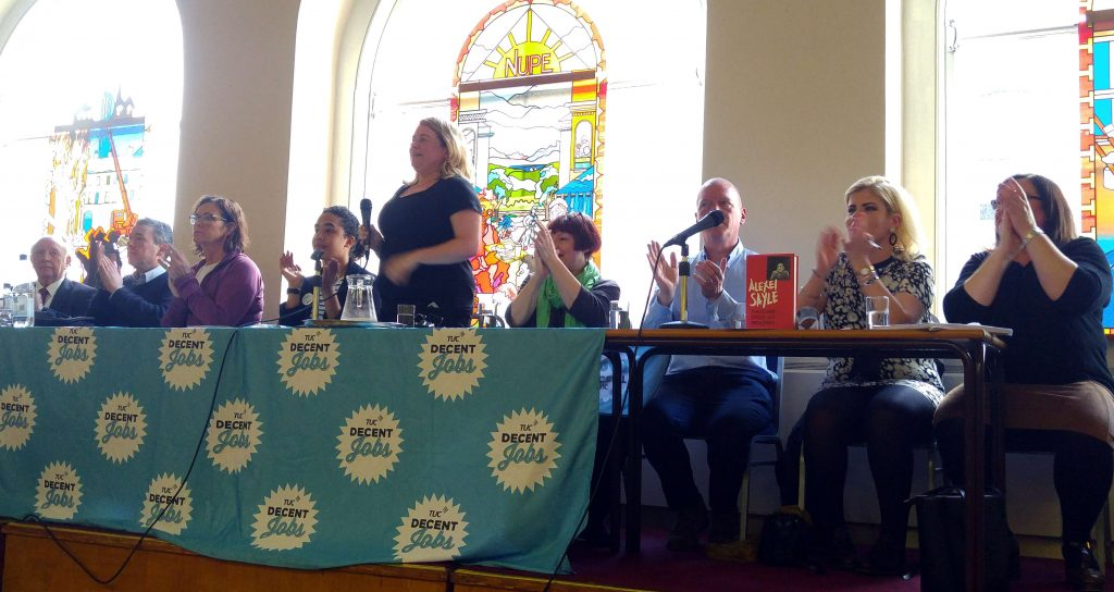 Top table at the rally: Arthur Scargill, Mark Serwotka, Sheila Coleman, Megan Parsons, Annette Wright, Christine Blower, Matt Wrack, Hannah McCarthy, Lynn Collins