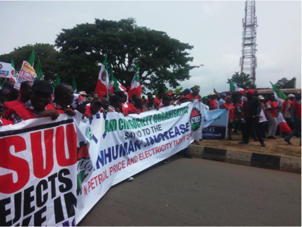 The front of the Abuja demonstration