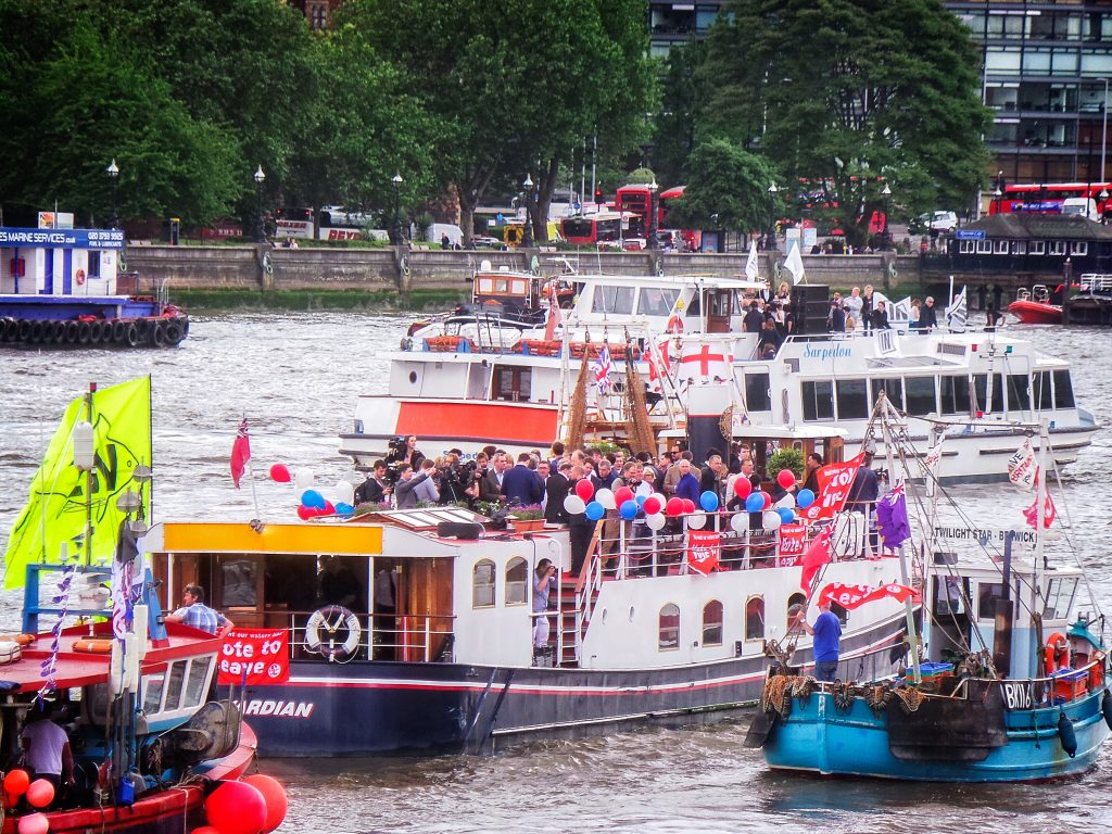 Photos taken at the stand off on the Thames prior to the EU referendum vote