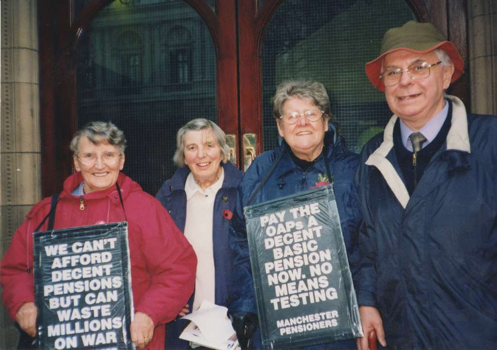 Bartley and Manchester TUC pensioners holding placards