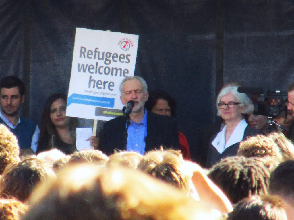Jeremy Corbyn addresses a 'Refugees Welcome' march through London, 12/09/15. Photo by: David Holt/flickr